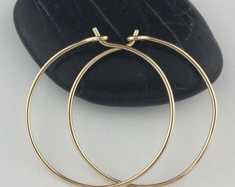 Solid 14k Gold Hoop Earrings, 20 Gauge, Thin Gold Hoops, Solid Gold Hoops, Gold Hoop Earrings, Hammered Gold Hoop Earrings