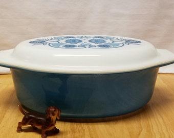 Vintage Pyrex Horizon Blue Casserole 2 1/2 qt #045 with patterned lid