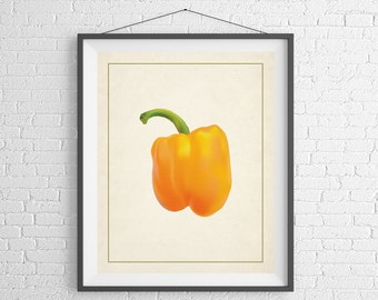 Yellow Pepper Print, Kitchen Art, Kitchen Prints, Food Print, Chef Gift, Foodie Gift, Food Gift, Vegetable Art, Vegetable Print, Veggie Art