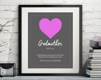 Godmother Art, Godmother Gift, Godmother Poem, Quotes, Godparent Gift, Baptism Gifts for Godmother, Godmother Print, Custom, Personalized