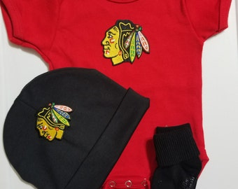 chicago blackhawks baby outfit-chicago blackhawks baby shower gift-blackhawks for baby-blackhawks baby boy take home outfit/baby blackhawks