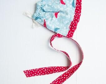 Ruffled Baby Bonnet-Birds & Polka Dots-Blue/Red