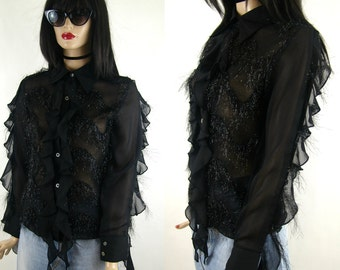 Fringe blouse with volans, flounces, black, vintage pattern, size 36/s, 1990's fashion