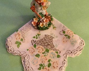 Beautiful Vintage 1950/60 Handkerchief Pink Roses in Flower Baskets - Retro Cottage Chic - Lace Look Wedding