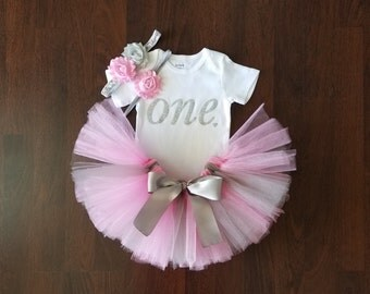 Baby Girl 1st Birthday Outfit - Pink and Silver Tutu