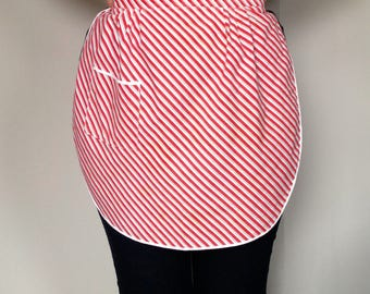 Vintage apron - red, grey and white stripes