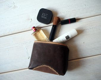 Leather Makeup bag, Leather Make up Bag, Cosmetic bag, Leather Cosmetic Bag, Makeup bag, Leather Pouch, Leather Toiletry bag, Make up bag