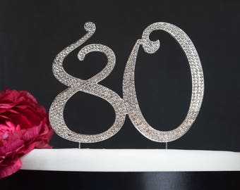 80 Cake Topper - Premium Crystal Rhinestones - Monogram Number Eighty - 80th Birthday or Anniversary Party - Perfect Keepsake
