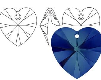 Swarovski 6228 Crystal Heart Pendant 18mm Bermuda Blue 1PC 3PC