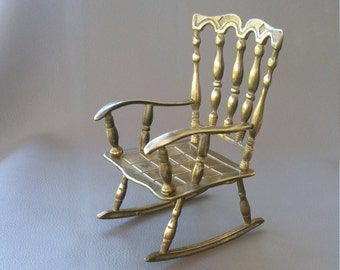 Decorative, Solid Brass, Ornamental Rocking Chair
