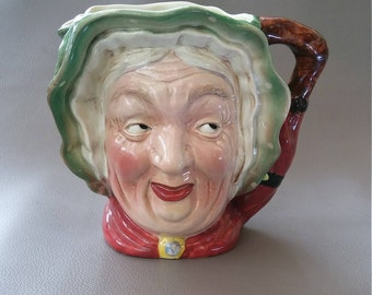 "BeswickWare, Sairey (Sarah ) Gamp, from, Charles Dickens novel, ""Martin Chuzzlewit"", a Large  character jug from Stoke on Trent, England"
