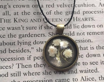 Real Baby's Breath Resin Flower Necklace