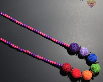 (64 cm) necklace handmade, multicolored, crocheted cotton thread and wooden beads - m.
