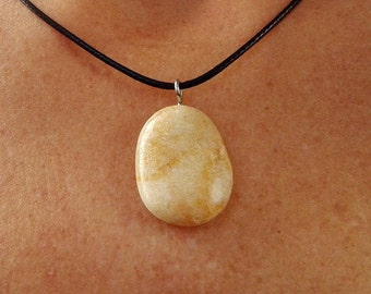 Natural stone pendant necklace handcrafted 10/16-39