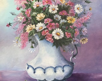 Oil Painting Flowers, Pink, Yellow, and White Daisies in White Vase Oil Painting, Daisies in Oils, Pink, Yellow, White Daisy Painting