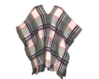 Vintage Fringed Wool Blanket Poncho-Reversible, Plaid