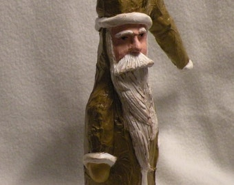 Santa with long hat in mustard yellow