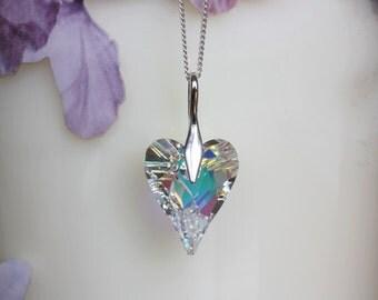 SALE Swarovski Crystal Heart Pendant Necklace, Sterling silver