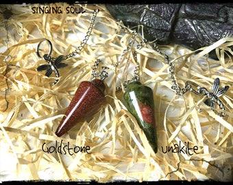 Goldstone Pendulum, Unakite Pedulium, Unakite Jasper, meditation, zen, pendulum, Reiki jewelry, healing crystals, Dowsing, scrying, crystals