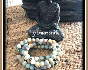 Amazonite Mala, 108 beads, Mala Bracelet, Reiki, Buddha, Rosary, Prayer beads, tree of life, mala, meditation mala, yoga, zen, crystals