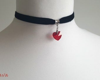 Choker necklace necklace vintage heart Red