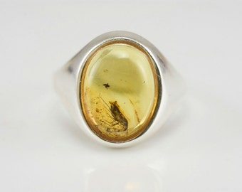 Fossil Insect BUG Inclusion Genuine BALTIC AMBER Sterling Silver Ring Size- 8