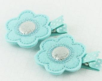 Baby Blue Felt Flower Hair Clip | Blue Baby Hair Clip | Baby Girl Flower Hair Clip | Handmade Girl Hair Accessory