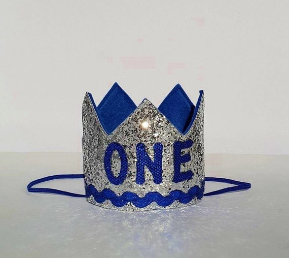 First Birthday Boy Boy Birthday Crown Boy Birthday: Baby Boy First Birthday Crown Silver And Royal Blue Hat For