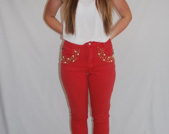 Brighton Blues 1990s Embellished Red Vintage Jeans