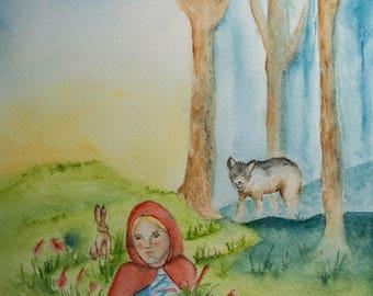 Little Red- Cap - Original watercolor - NO PRINT