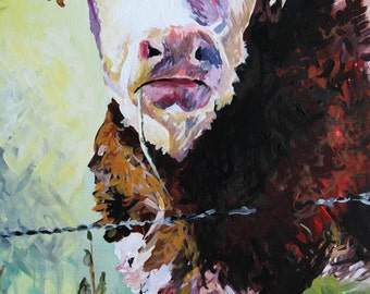 Limited edition cow art CANVAS of original acrylic painting HEREFORD, original farm animal art illustration, Hereford cow painting