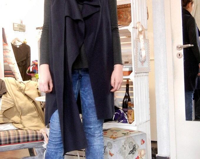 Flattering Loose Overall / Oversized Art Vest / Cashmere Maxi Vest / Scarf Art Vest / Black Cashmere Wool Vest
