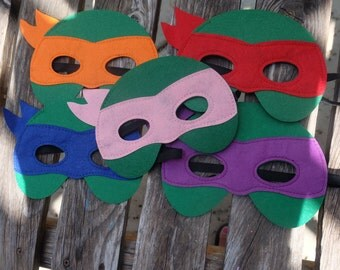 One (1) TMNT Masks - Teenage Mutant Ninja Turtle masks - Birthday party favors, costume, capes, dress up, cosplay.