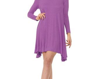 Long Sleeve Rayon Jersey Swing Dress Mauve