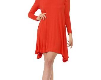 Long Sleeve Rayon Jersey Swing Dress Rust