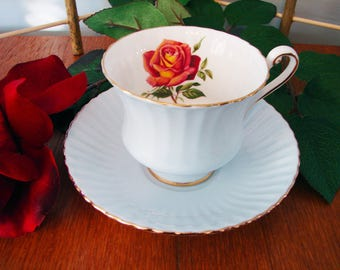 Paragon Fluted Cup and Saucer, Pale Blue, Orange-Red Rose Bloom, By Appointment to Her Majesty the Queen, Teacup, English Bone China