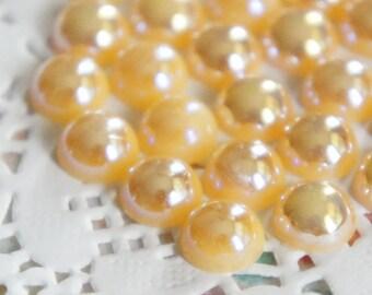 Cream/Champagne Flatback Half Pearls 8mm
