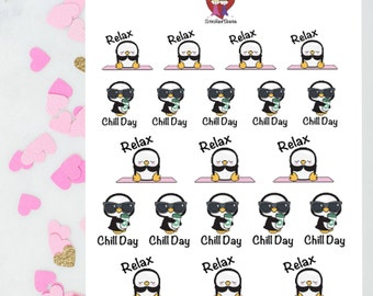 Chill and Relax Penguins / Decorative Stickers / Planner Stickers