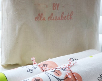 SALE Napkin Sets of 4 & 8 Hand Screen Printed - Windermere Garden  – 100% organic cotton