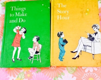 """Vintage 1969 Childrens Books, """"Things To Make and Do,"""" """"The Story Hour"""", Lot of 2 1960s Childrens Storybooks, Standard Educational Corp"""