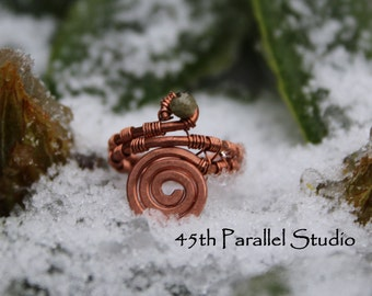 Tourmaline Copper Ring, Wire Wrapped Ring, Copper Ring, Copper Wire Wrapped Ring