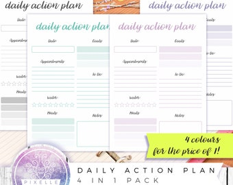 Daily Action Plan   A4/A5/A6 And US Letter   Instant Printable Template  Daily Action Plan Template