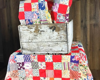 Vintage Red Scrappy Patchwork Quilt Piece
