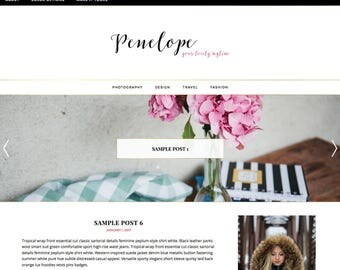 """Mobile-responsive WordPress theme, """"Penelope"""" Template with built-in slider, color customization and gold accents."""