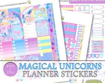 Unicorns Erin Condren Printable Planner Sticker Kit, ECLP Unicorns Weekly Planner Kit, Unicorns Planner Stickers Printable, ECLP Planner Kit