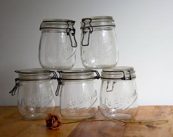 Storage jar, Glass jar, French jar, Cookie jar, Food storage container, Mason jar, Canning jar, Pantry jar, Country decor,Le parfait,Wedding
