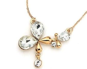 Golden Crystal Charm Necklace NK4021j
