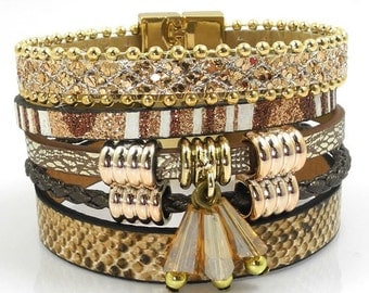 Golden Leather Charm Cuff Bracelet BR3011i