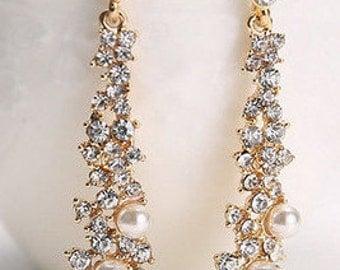 Gold, Crystal & Pearl Drop Earrings - Wedding/Bridal/Prom/Bridesmaid EA6002i