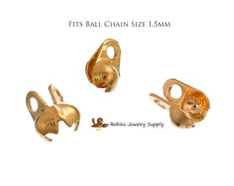 100 pcs - Rose Gold - Crimp Ends - Ball Chain Ends - Rose Gold Crimp Ends - Ball Chain Connectors - Crimp Bead - Ball Chain Calottes -F0050